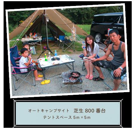 オートキャンプサイト 芝生800番台 テントスペース5m×5m
